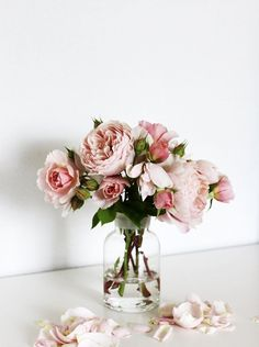 Pretty pale blush pink roses in a glass vase. Bouquet of pink roses. My Flower, Fresh Flowers, Beautiful Flowers, Pink Flowers, Edible Flowers, Vase Of Flowers, Rose Vase, Yellow Roses, Cactus Flower