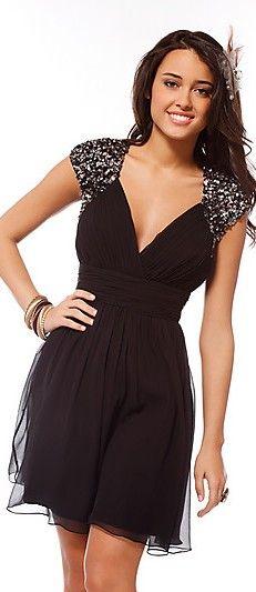 Natural Black Short V-neck Organza Evening Dress ykdress3762