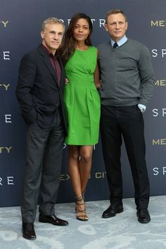 Christoph Waltz, Naomie Harris and Daniel Craig attend a photocall to promote 'Spectre' on November 1, 2015 in Mexico City