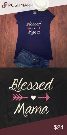 "Brand new custom shirt ""blessed mama"" with glitter Size XL super cute custom shirt. Will add names to the back for $2 each ❤️💙 high quality vinyl Tops Tees - Short Sleeve"