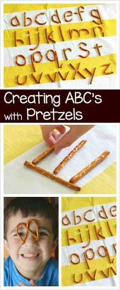 ABC's for Kids: Make letters of the alphabet using pretzels! Fun way to do name practice and letter practice with preschool and kindergarten! ~ BuggyandBuddy.com