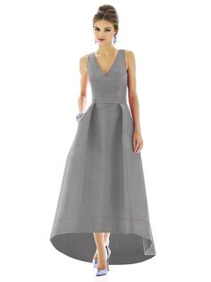 Alfred Sung D587 Dress Dupioni Full-Length A-line Hi-Low Hemline