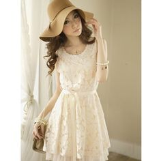 Women Beige Hot Sale Korean Fashion Lace Sweet Sleeveless Dress... ($20) ❤ liked on Polyvore
