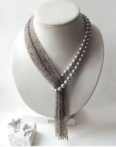 """Krawatte mit grauen Perlen und Achat """"Tropical Rain"""" – Diy Schmuck Tie with gray pearls and agate """"Tropical Rain"""" – Diy Jewelry Bead Jewellery, Pearl Jewelry, Beaded Jewelry, Jewelery, Jewelry Necklaces, Handmade Jewelry, Beaded Necklace, Unique Jewelry, Jewellery Shops"""