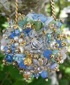 Items similar to Bejeweled Ornament/ Peridot Pale Blue Gold Art Piece/ OOAK Vintage Jewelry Assemblage/Vintage Jewelry Ornament/Sparkly Home Decor/Orb on Etsy Jewelry Tree, Old Jewelry, Custom Jewelry, Jewelery, Recycled Jewelry, Recycled Crafts, Victorian Christmas Ornaments, Christmas Ornaments To Make, Christmas Crafts
