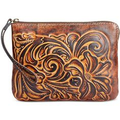 Patricia Nash Cassini Tooled Wristlet ($69) ❤ liked on Polyvore featuring bags, handbags, clutches, tuscan, floral leather handbags, leather purses, brown handbags, brown leather purse and brown wristlet