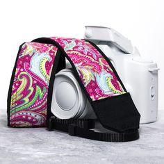 Camera Strap Hot Pink Paisley dslr slr 57