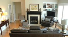 ideas to make a furniture layout or arrangement in a living room using couches, chairs and more, centered around the focal point of a fireplace or TV