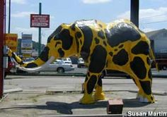 Painted elephant, Anniston Alabama. I loved watching the paint jobs on this elephant change when I was a child.