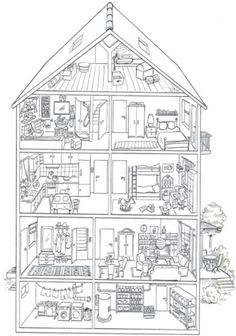 TOUCH this image: Das Haus by madameB - Haar Frisuren Haar Accessoires Haarfarbe Haarpflege House Colouring Pages, Adult Coloring Book Pages, Printable Adult Coloring Pages, Coloring For Kids, Coloring Sheets, Coloring Books, Art Lessons, Spanish, Teaching