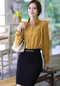 Yellow Chiffon Causal Office Lady Asian Trendy Shirt with Checkered Scarf 1
