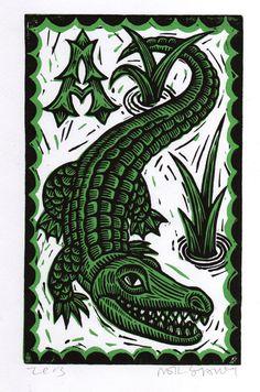 Linocut Art Print Children's Alligator Wall Art by HorseAndHare