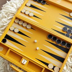 Mustard Leather Challenge Size Backgammon Set by Geoffrey Parker : MON...