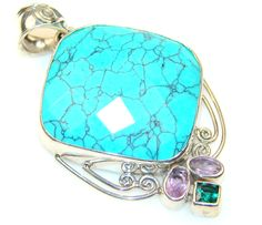 $49.95 Mystries Turquoise Sterling Silver Pendant at www.SilverRushStyle.com #pendant #handmade #jewelry #silver #turquoise