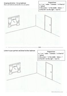 Drawing dictation - in my bedroom - English ESL Worksheets Free Preschool, Preschool Worksheets, Teaching Jobs, Teaching Resources, Prepositions, Awesome Bedrooms, English Lessons, My Room, Grammar