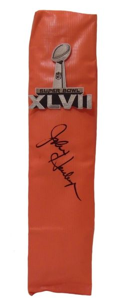 John Harbaugh Autographed Baltimore Ravens Super Bowl XLVII Full Size Football End Zone Touchdown Pylon, Proof