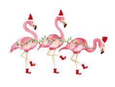 Set of 10 Christmas Flamingo Cards by ShorelyChic on Etsy Flamingo Party, Flamingo Craft, Flamingo Decor, Pink Flamingos, Flamingo Shirt, Tropical Christmas, Coastal Christmas, Christmas In July, Pink Christmas