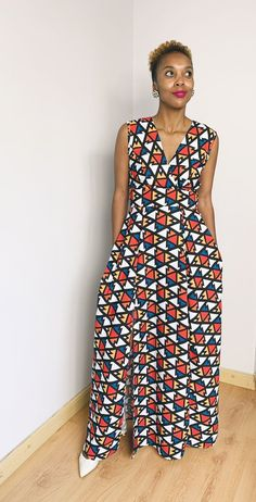 African print maxi with 2 slits and pocket African, Pocket, Dresses, Fashion, Vestidos, Moda, Fashion Styles, Dress, Fashion Illustrations
