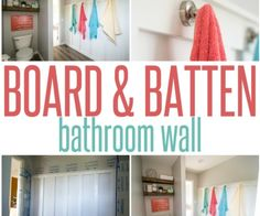 Board and Batten Bathroom Wall with Towel Display Hooks