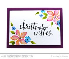 Handmade card from Francine Vuilleme featuring Hand Lettered Holiday