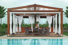 Looking for pergola design and ideas for your patio or backyard landscape? Famous pergola designs are wood pergola,freestanding or attached to house one. Diy Pergola, Pergola Retractable, Backyard Canopy, Pergola Canopy, Deck With Pergola, Wooden Pergola, Covered Pergola, Pergola Shade, Pergola Ideas
