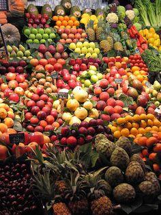 """La Bouqueria"" Market at Las Ramblas (Barcelona, Spain). Most beautiful fruit market ever seen."