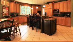 oak kitchen cabinets with dark island | ... Kitchen Island With Wooden Kitchen Cabinet Brown Kitchen Island Marble