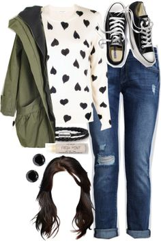 I love this cute, casual outfit, but without the military jacket                                                                                                                                                                                 Mais