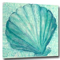 Soft aqua blue and turquoise shades combine to create this whimsical Aqua Tropical Scallop Shell Wall Art Giclee by My Island Art will be a welcome addition at your seaside cottage.