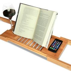 Amazon.com - Bamboo Bathtub Caddy with Extending Sides and Adjustable Book Holder by ToiletTree Products - Bathroom Trays
