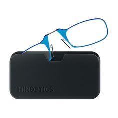 ThinOptics - Universal Pod Case and Reading Glasses - Azure Blue/Black, UPBLBLU