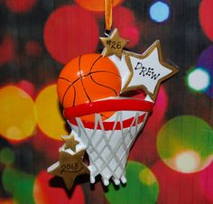 Personalized BASKETBALL Christmas Ornament by confettigiftsbyg