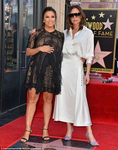 Victoria Beckham supports pregnant Eva Longoria on the Hollywood Walk of Fame | Daily Mail Online