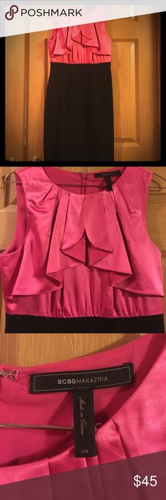 BCBG hot pink and black dress! Only worn once! In prefect condition! Ruffles add a beautiful design feature. Downsizing my closet so please take advantage of these deals! BCBGMaxAzria Dresses Midi
