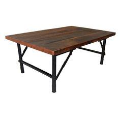 Sofabord i genbrugstræ med jernstel