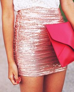 Cute outfit- bag might be a little much though Pink Fashion, Love Fashion, Fashion Trends, Cute Skirts, Mini Skirts, Pink Sequin, Tumblr, Dress Me Up, Passion For Fashion