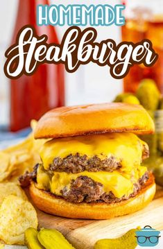This recipe for Homemade Steakburgers tastes just like a Steak and Shake or Freddy's hamburger. No meat grinder needed! Copycat Recipes, Beef Recipes, Cooking Recipes, French Fry Cutter, Homemade French Fries, Homemade Hamburgers, Beef Short Ribs, Hamburger Buns, Sirloin Steaks
