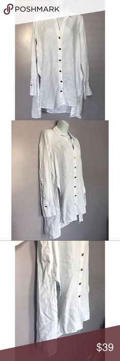 "{Zara} Linen Shirt with Gold Buttons Crisp white linen shirt form Zara. High-low hem and generous side slits. Gold buttons give this classic shirt a pop! Approx front length: 28.5""; back length: 32"". Zara Tops"