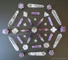 quartz and amethyst crystal healing grid