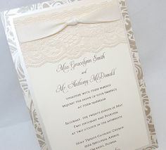 EMILY-1 Lace Wedding Invitation, Invite, Vintage, Shabby Chic, Couture, Elegant. $600.00, via Etsy.