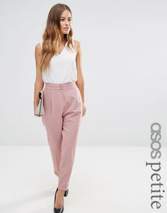 Image 1 of ASOS PETITE Tailored High Waisted Trousers with Turn Up Detail