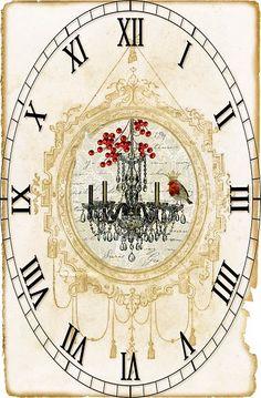 View album on Yandex. Paper Clock, Clock Art, Printable Postcards, Decoupage Paper, Time Art, Vintage Images, Vintage Prints, Vintage World Maps, Creations