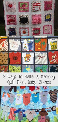 3 Ways to Make a Memory Quilt from Baby Clothes - Quilting Digest Baby Clothes Quilt, Pet Clothes, Baby Quilts, Baby Quilt Tutorials, Modern Baby Clothes, Hippie Baby, The Quilt Show, Shirt Quilt, Quilt Making