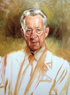 Portrait halfway painted.