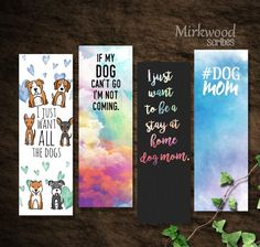 This listing is for a set of 4 printable dog mom bookmarks. Buy once and print a. Bookmarks For Books, Creative Bookmarks, Diy Bookmarks, Dog Lover Gifts, Dog Lovers, Free Printable Bookmarks, Watercolor Bookmarks, Bookmark Craft, Parent Gifts
