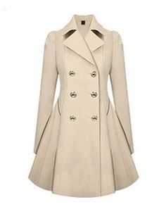 Versatile Notched Lapel Double Breasted Trench Coats  Also comes in Navy and the back of the coat is awesome!