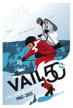 """Greg Montgomery's poster series for the Travers stakes race in Saratoga Springs, NY — """"The Colors of Racing"""" — is the longest running series of its kind. Vail Mountain, Vintage Ski Posters, Mountain Illustration, Best Ski Resorts, Poster Series, Look Vintage, Work Inspiration, Skiing, Cool Designs"""