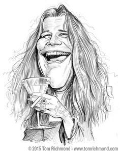 Janis Joplin por Tom Richmond - Caricaturas de Famosos