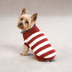 Cabin Striped Turtleneck Dog Sweater - Red