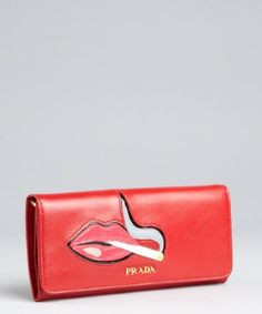 Prada red leather smoking lips snap continental wallet | BLUEFLY up to 70% off designer brands at bluefly.com